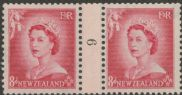 NZ Counter Coil Pair SG 730 1953 8d Queen Elizabeth II Join No. 9 (NCC/204)
